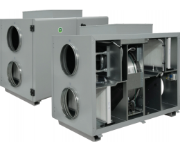 HRS-R H 400 W EKO - Efektivita: 75% - Krytie: IP54 - Filter: M5/F7 - s vodným predohrevom