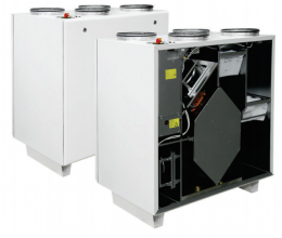 HRS V 1900 EL EKO - Efektivita: 90% - Krytie: IP54 - Filter: M5 od/prisávanie: 0.49/3.2 kW/A - s ľavým prípojom a elektrickým ohrievačom